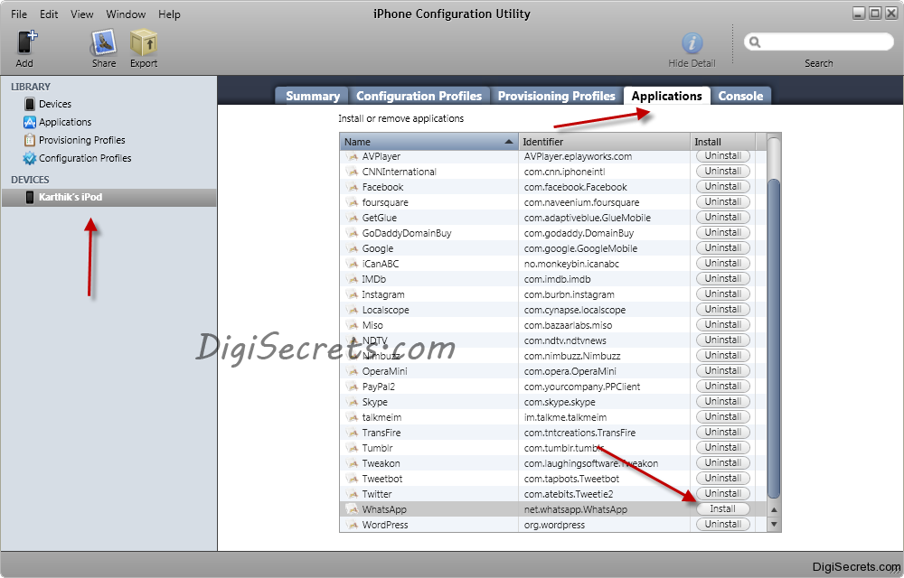 iPhone Configuration Utility - App Install
