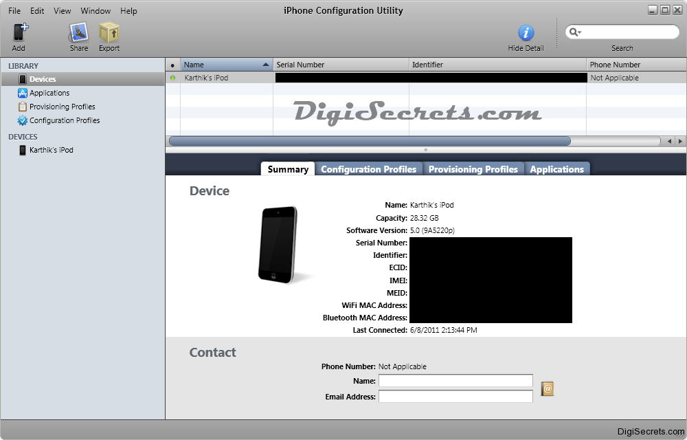 iPhone Configuration Utility - Home