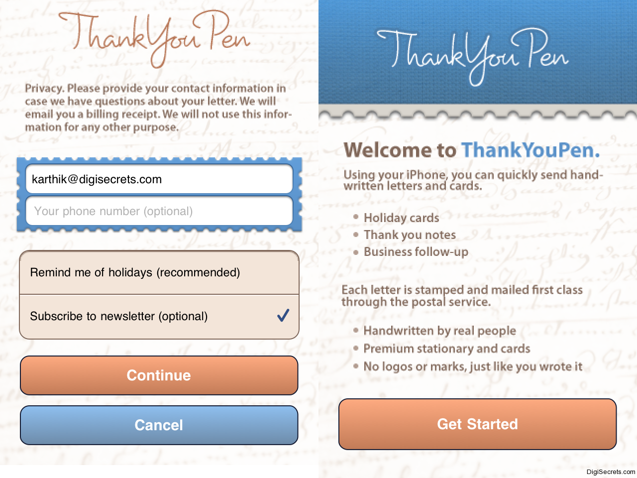 Send Hand Written Greeting Cards From Your Iphone Using Thankyoupen