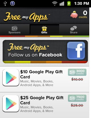 Freemys Android Google Play Gift Card Coupons